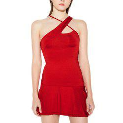 HAODUOYI Women's Sexy Chest Openwork Cross Strap Dress Red -