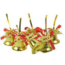 Christmas Tree Pendant Gold Red Ribbon Bell 6 Pack -