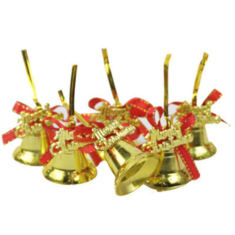 Best Christmas Tree Pendant Gold Red Ribbon Bell 6 Pack