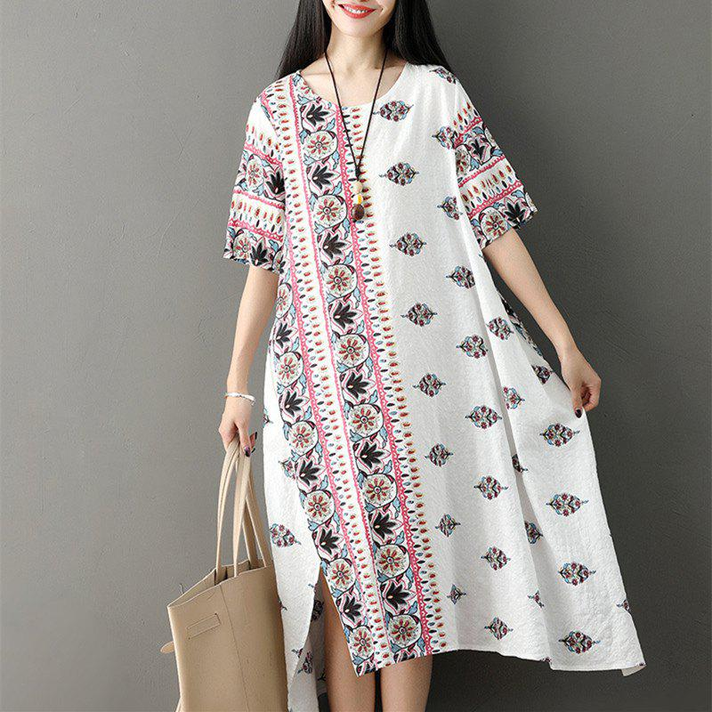 Best Large Size Irregular Skirt with Loose Round Collar and Long Dress