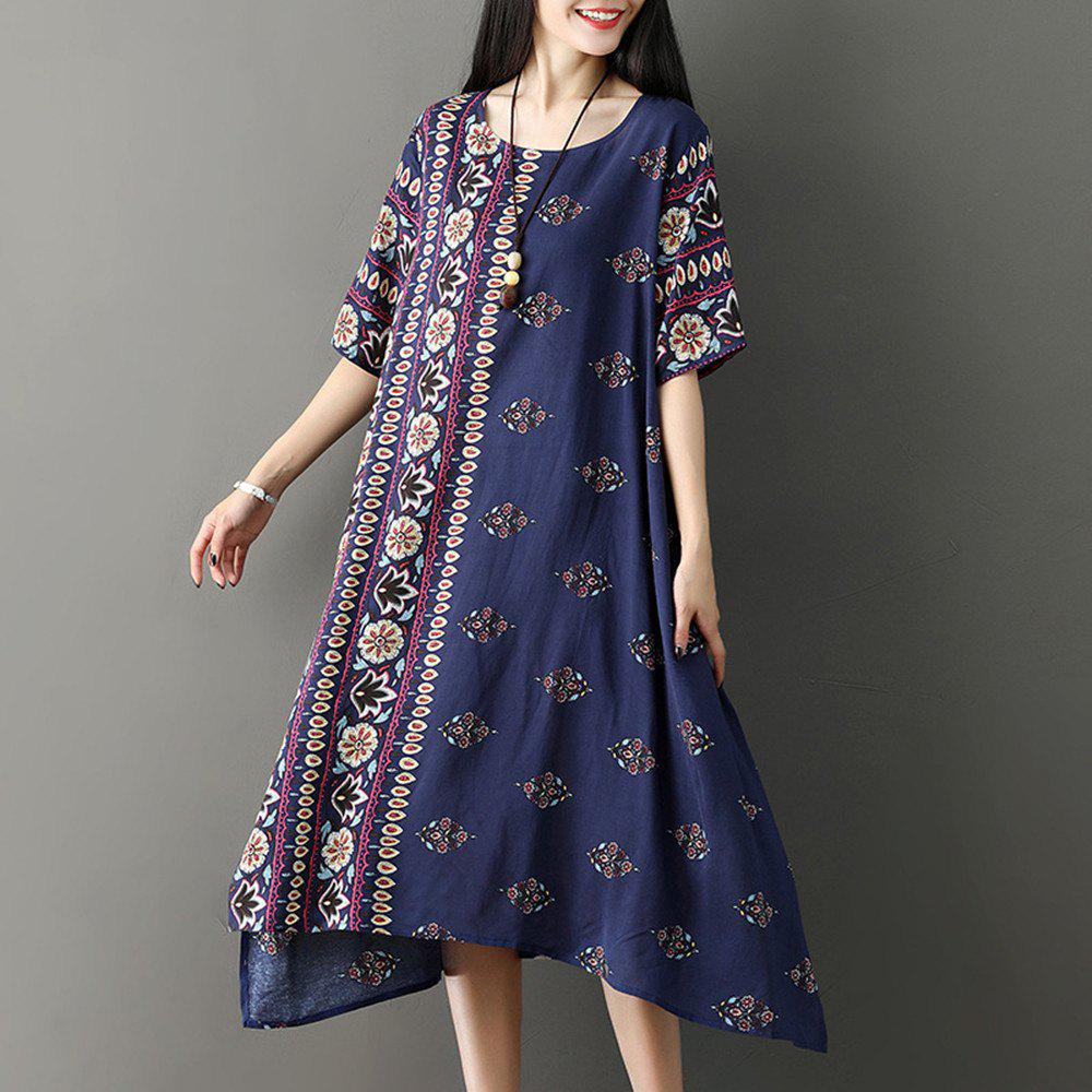 Affordable Large Size Irregular Skirt with Loose Round Collar and Long Dress