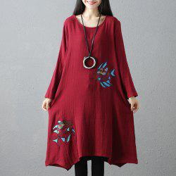 Wide Embroidered Double Fish Picture Round Collar Long Sleeve Dress -