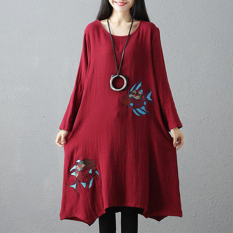 Unique Wide Embroidered Double Fish Picture Round Collar Long Sleeve Dress