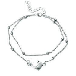 Fashion Silver Dolphin Double Layer Anklet -