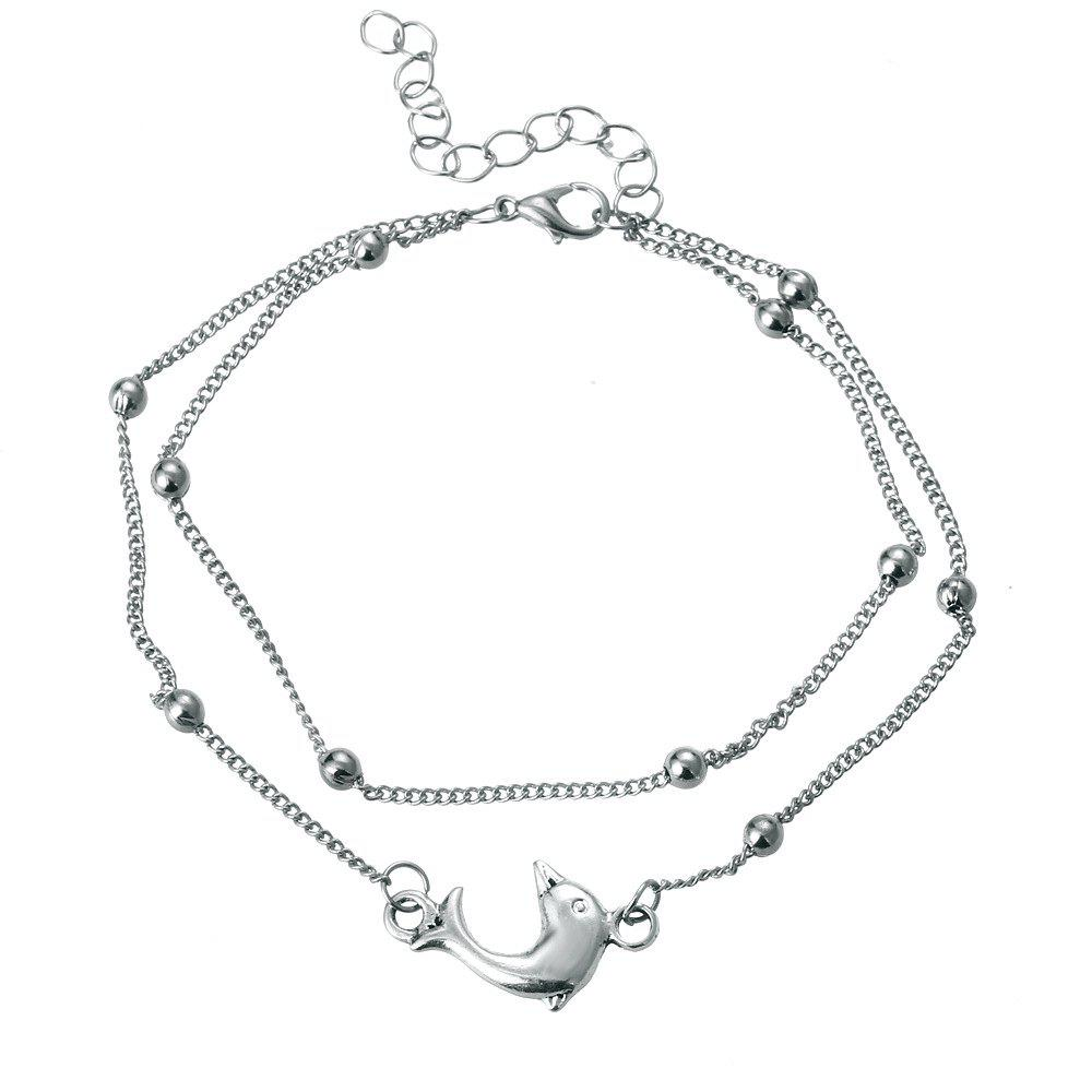 Buy Fashion Silver Dolphin Double Layer Anklet