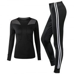Women's Sports Clothes Set Long Sleeve Breathable T-Shirt Striped Sports Pants S -
