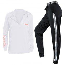 2 Pcs Women'S Sports Clothes Set Letter Printed Hooded Top Striped Fitness Pants -