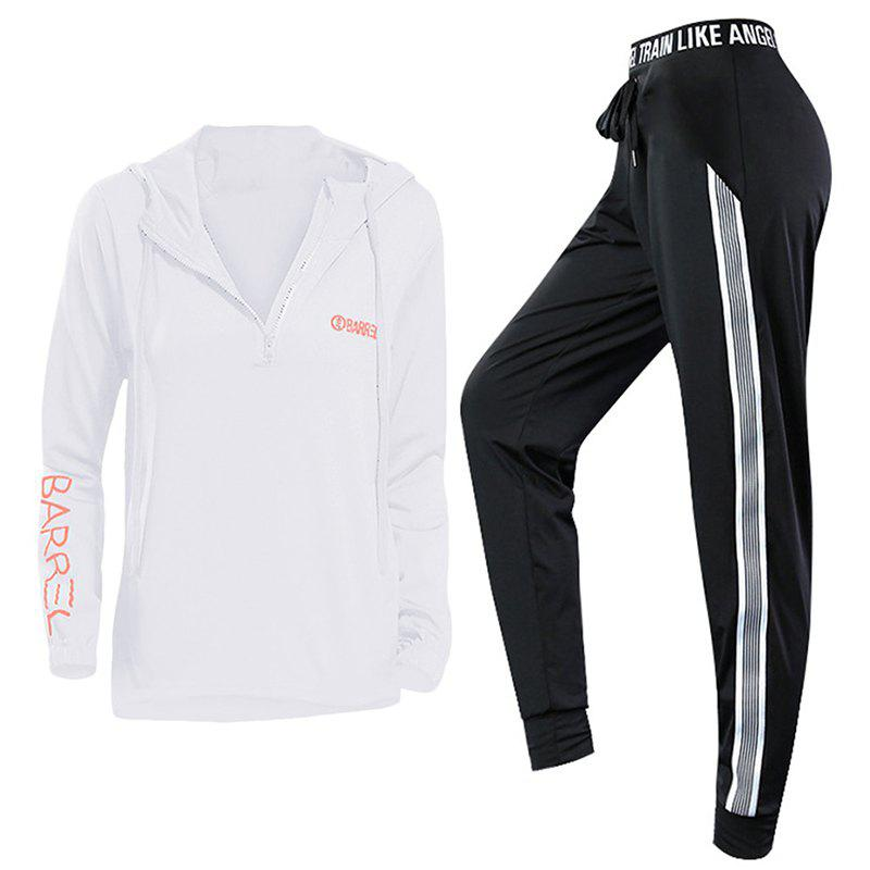 Outfits 2 Pcs Women'S Sports Clothes Set Letter Printed Hooded Top Striped Fitness Pants