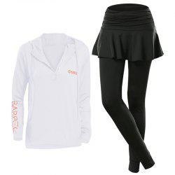 Women'S Sports Clothes Set Letter Printed Hooded Top Patchwork Divided Skirt -