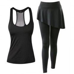 Women's Sports Clothes Set Solid Color Sports Tanks Patchwork Divided Skirt -