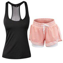 Women'S Sports Clothes Set Solid Color Sports Tanks Comfy Sports Shorts Set -