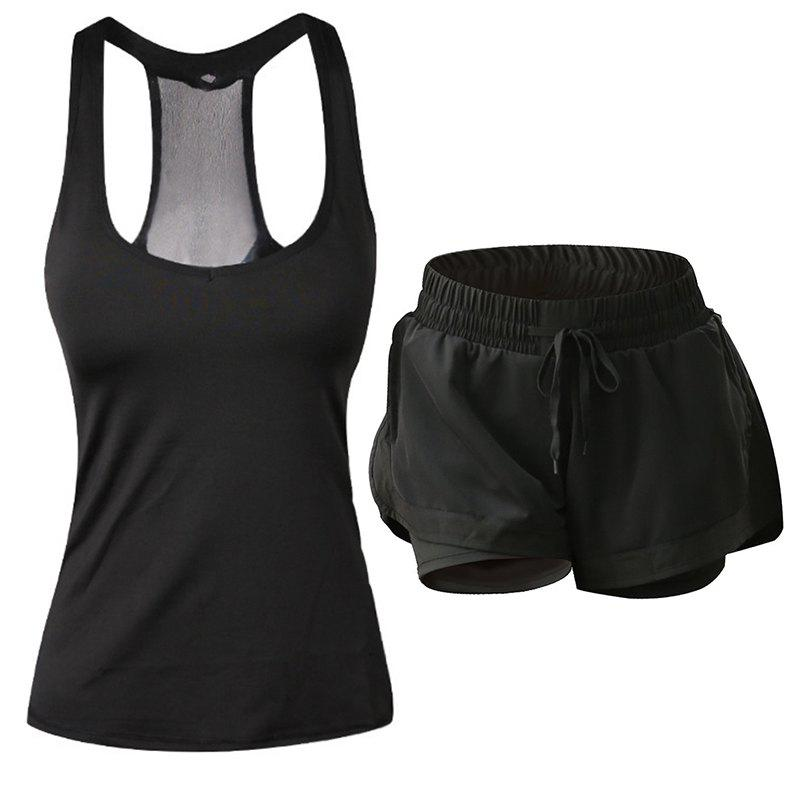 Hot Women'S Sports Clothes Set Solid Color Sports Tanks Comfy Sports Shorts Set