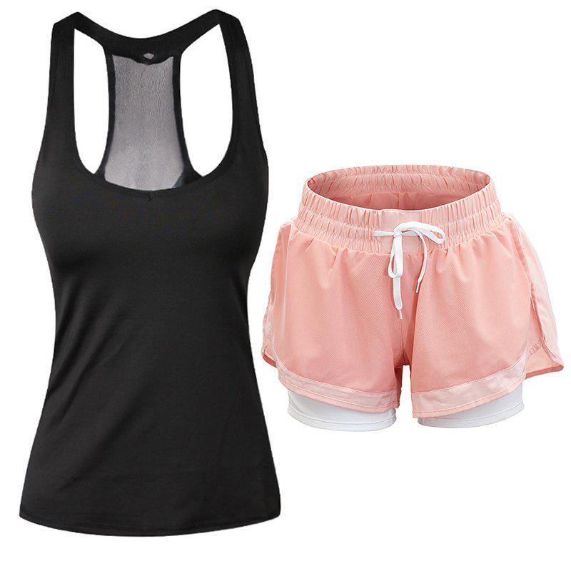 New Women'S Sports Clothes Set Solid Color Sports Tanks Comfy Sports Shorts Set