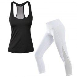 2 Pcs Women'S Sports Clothes Set Solid Color Sports Tanks Patchwork Slim Pants -