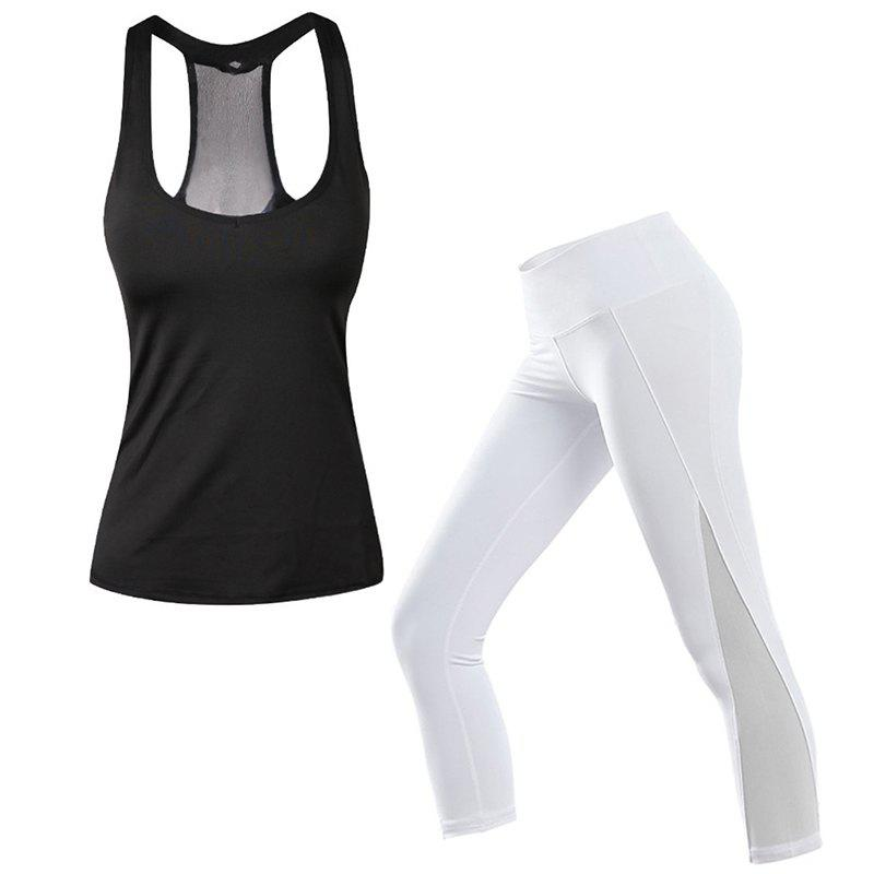 c86e8b42862a 2 Pcs Women S Sports Clothes Set Solid Color Sports Tanks Patchwork Slim  Pants - White - L