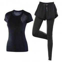 2 Pcs Women'S Yoga Clothes Breathable T-Shirt Patchwork Leggings Set -