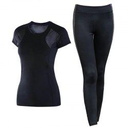 2 Pcs Women'S Sports Clothes Breathable O Neck T-Shirt Patchwork Leggings Set -