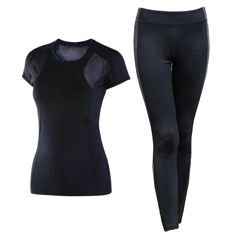 Discount 2 Pcs Women'S Sports Clothes Breathable O Neck T-Shirt Patchwork Leggings Set