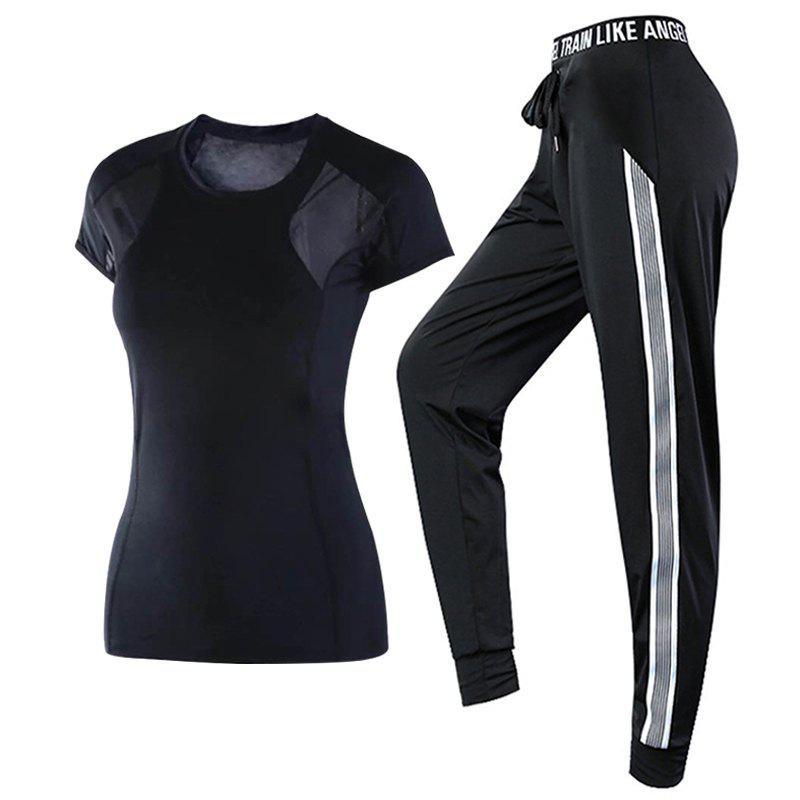 Fancy 2 Pcs Women's Sports Clothes Plus Size Breathable T-Shirt Striped Pants Set