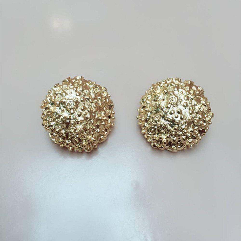 Trendy Golden Yellow Female Fashion Ear Clip Temperament Round Earrings Jewelry