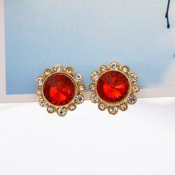 Round Crystal Earrings Women Fashion Clip Earrings Jewelry -