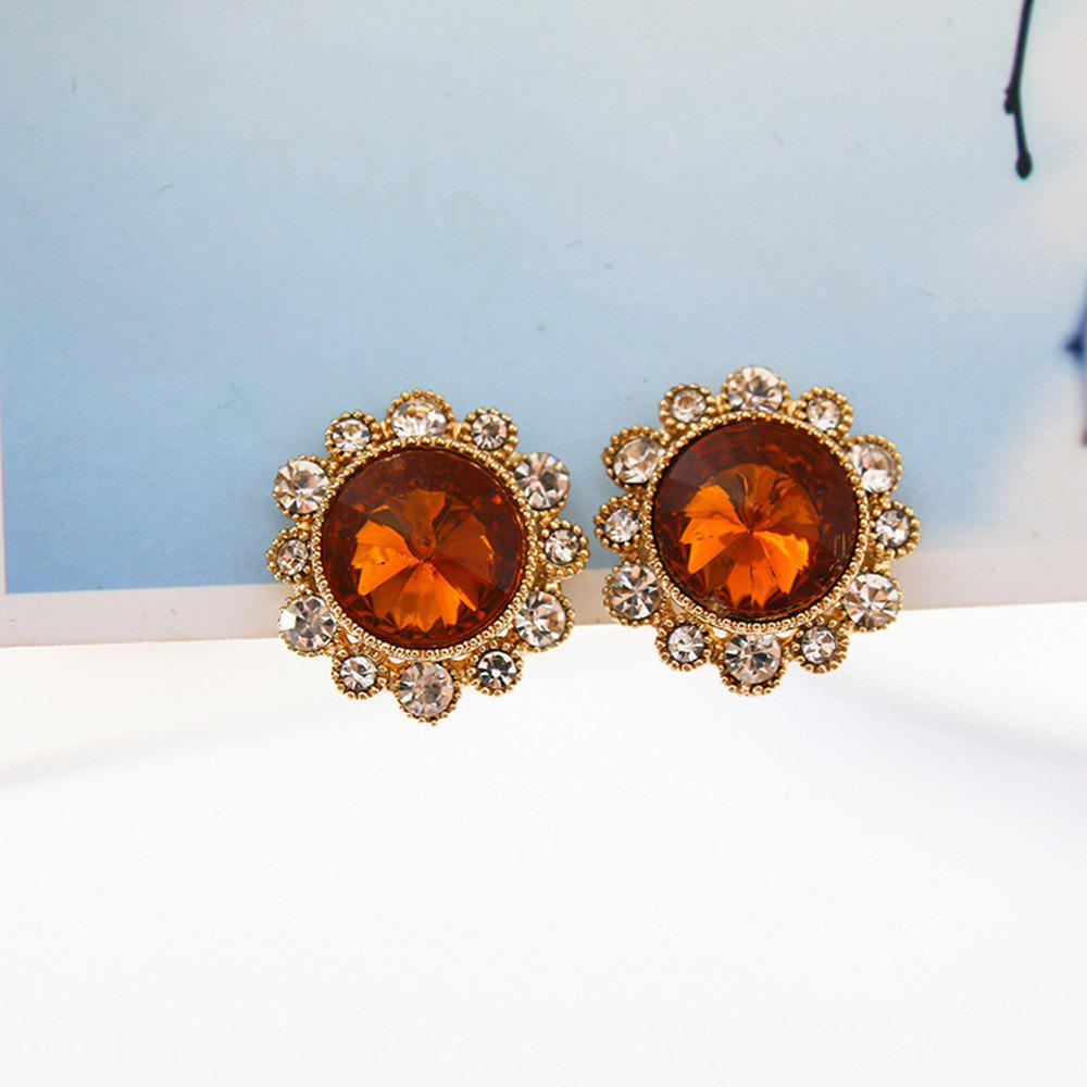 Affordable Round Crystal Earrings Women Fashion Clip Earrings Jewelry