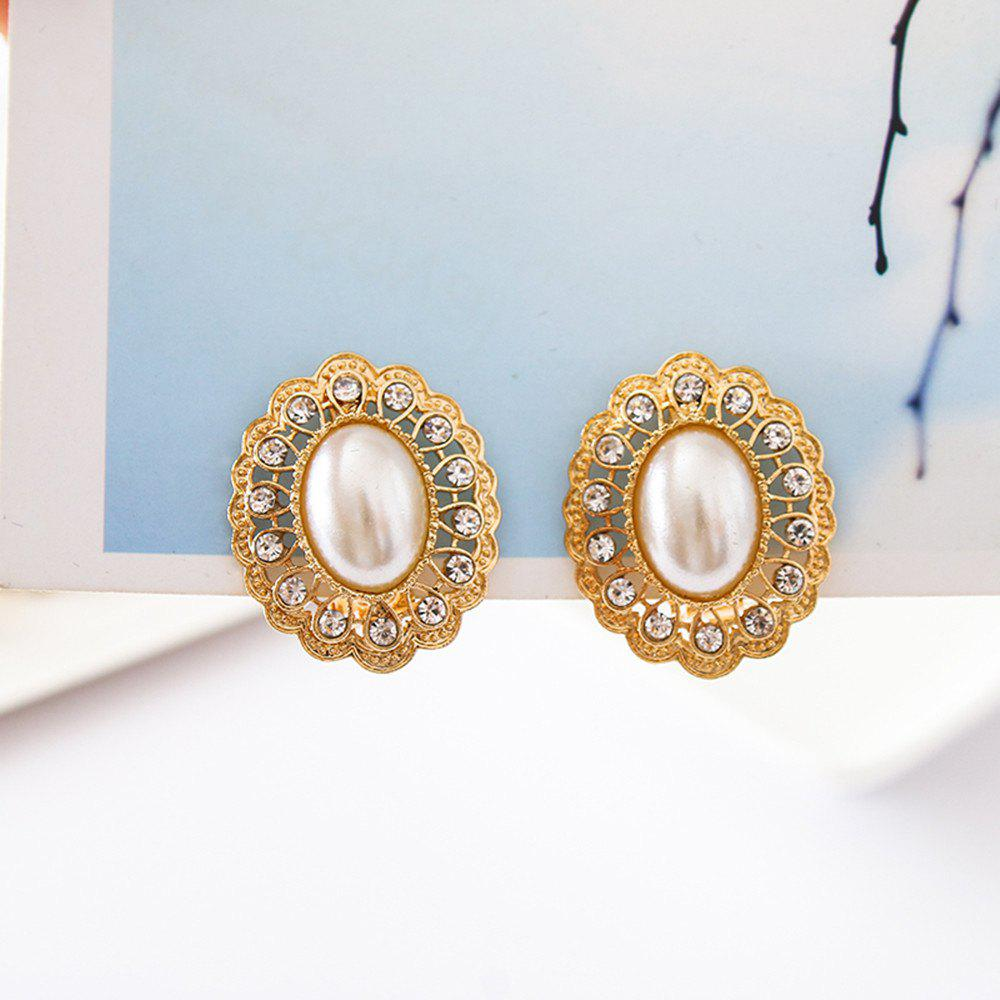 Latest Oval Pearl Female Ear Clips Gold Crystal Clip Earrings Jewelry