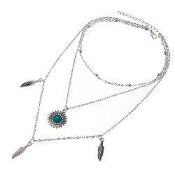 Women'S Fashion Feather Sun Beads Chain Three Layers Necklace -
