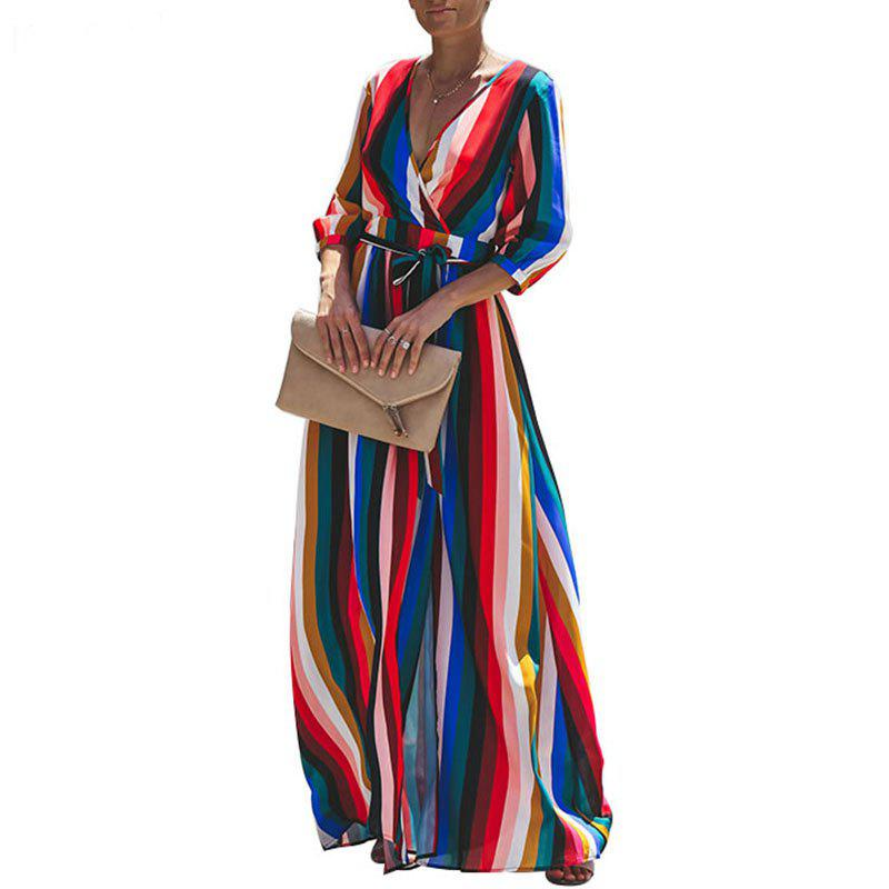 Store 2018 Autumn Women Long Dress Sexy Split V Neck Striped Female Maxi Chiffon Dress