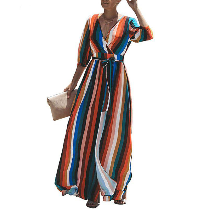 Hot 2018 Women Long Dress Sexy Split V Neck Striped Female Maxi Chiffon Dress