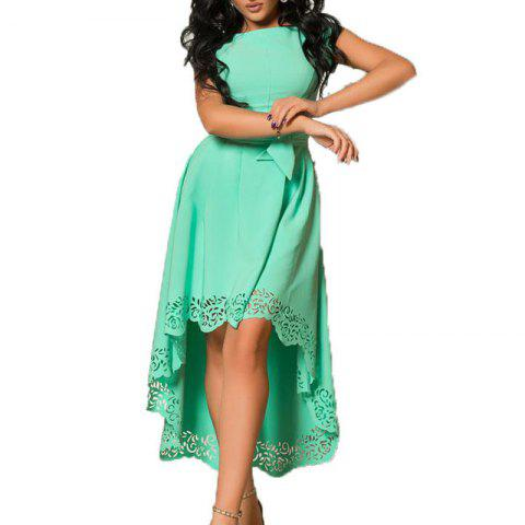 Women Short Dress Casual Hollow Out Dresses Style Solid Elegant Gree