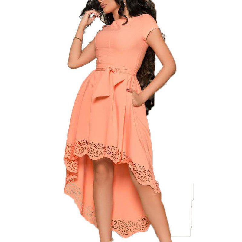 Latest Summer Women Short Dress Casual Hollow Out Dresses Style Solid Elegant