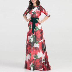 Women Long Dress Fashion Casual Chiffon Flower Print Maxi Dress Fema -
