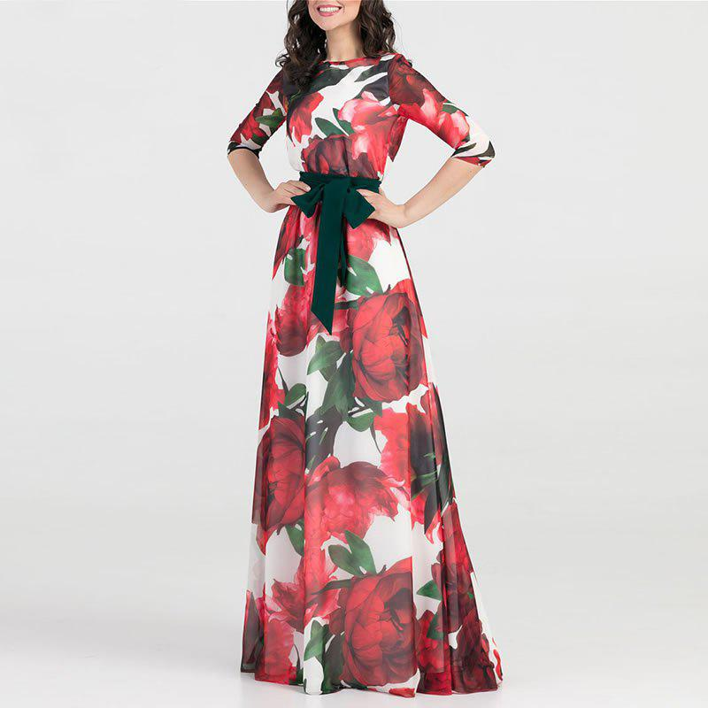 Hot Women Long Dress Fashion Casual Chiffon Flower Print Maxi Dress Fema