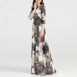 Autumn Women Long Dress Fashion Casual Chiffon Flower Print Maxi Dress -