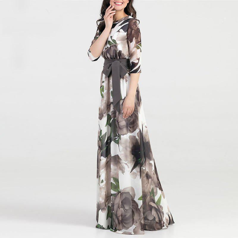 Latest Autumn Women Long Dress Fashion Casual Chiffon Flower Print Maxi Dress