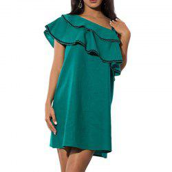 New Summer Dress Women Lotus Leaf Oblique Dresses Ladies Sexy Party Club -