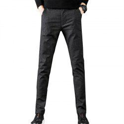 Men'S Fashion Plaid Casual Pants Slim Trousers -