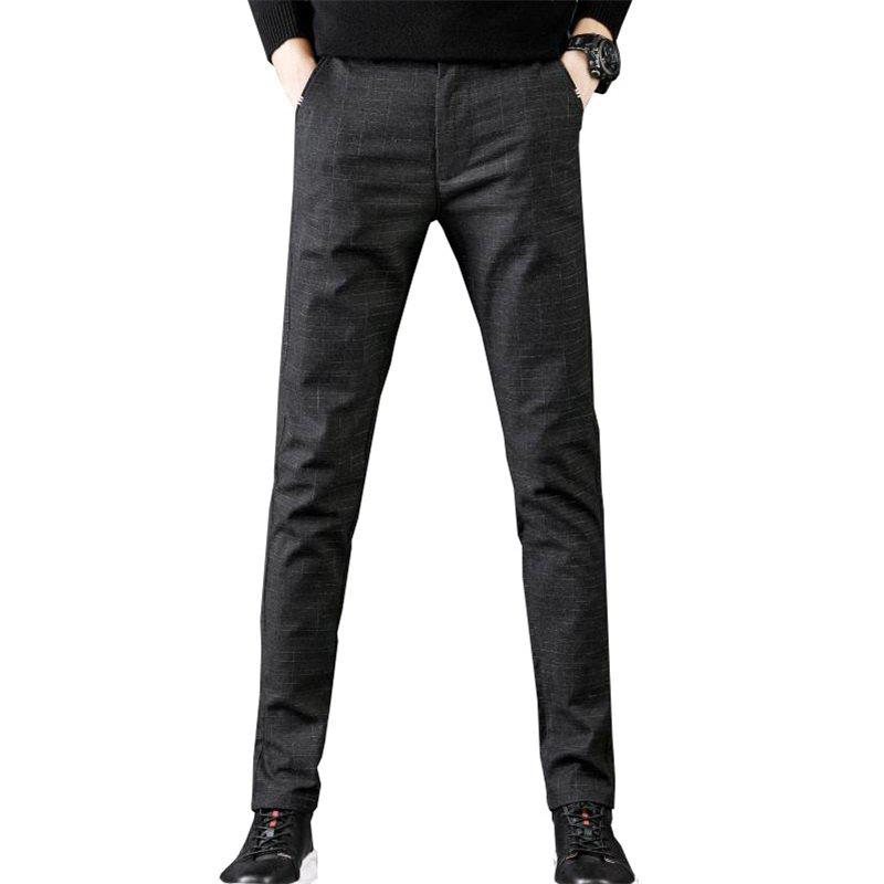 Outfit Men'S Fashion Plaid Casual Pants Slim Trousers