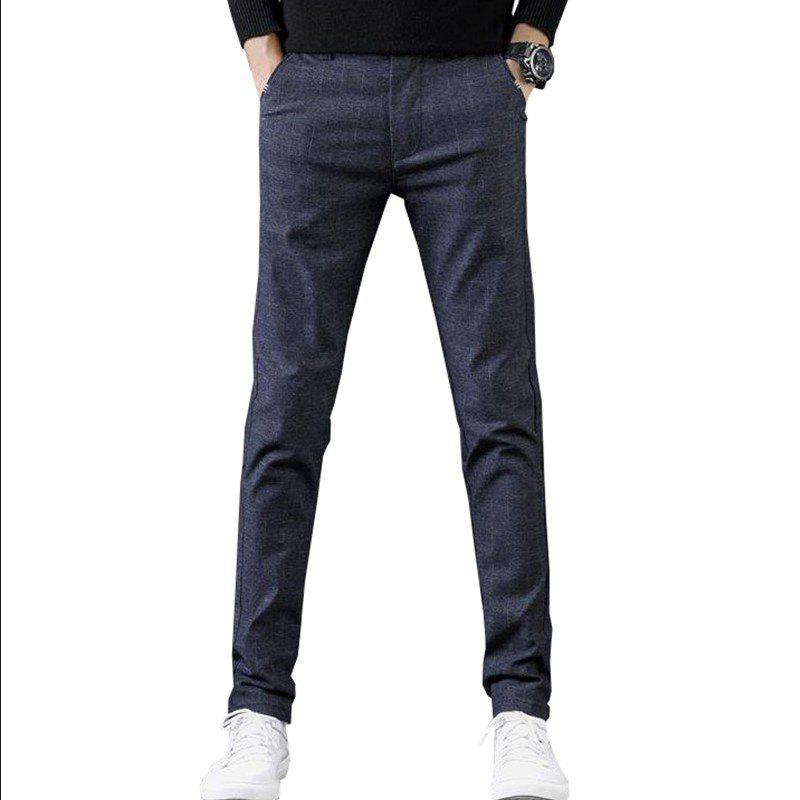 Shops Men'S Fashion Plaid Casual Pants Slim Trousers