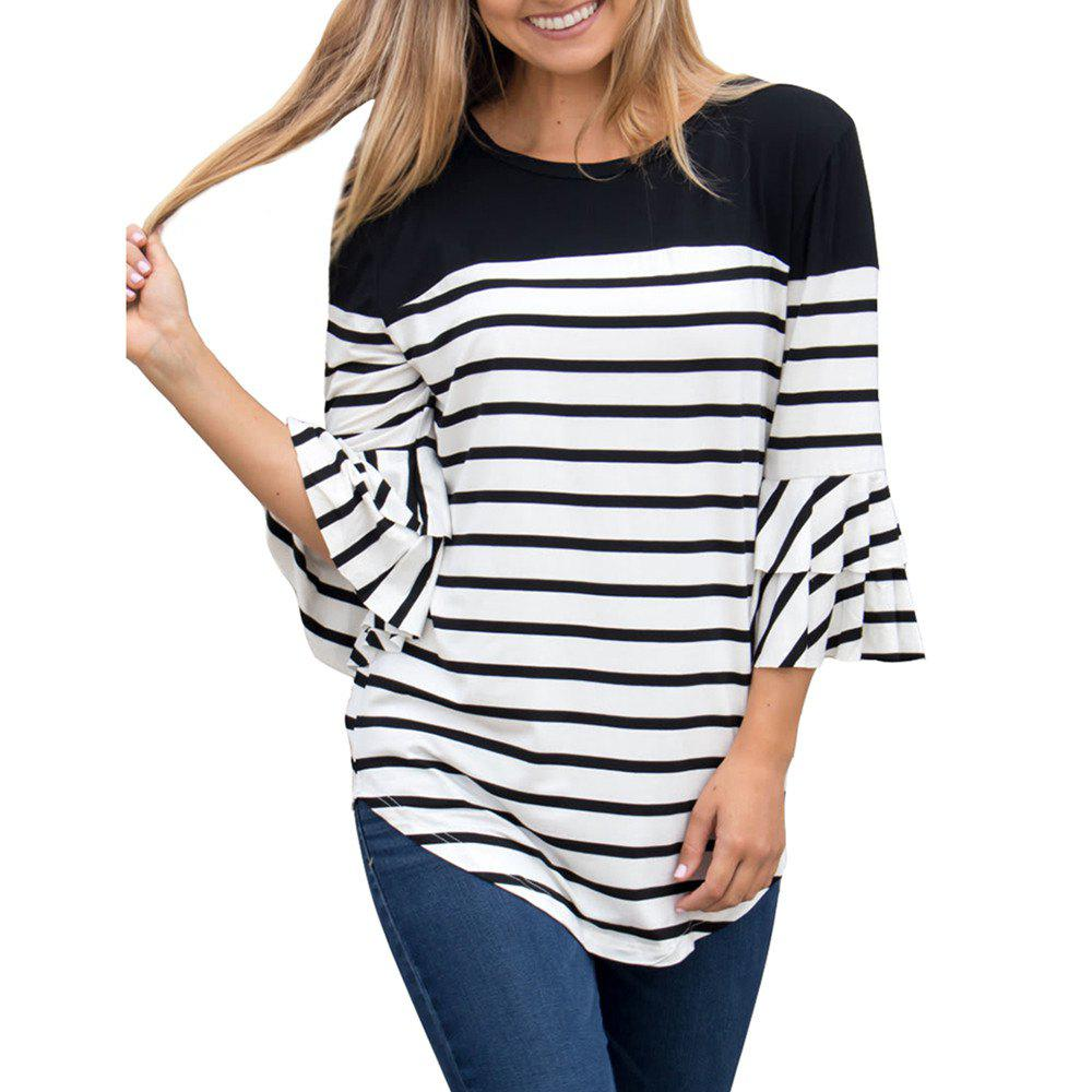 Sale Women'S Fall and Winter New Stripe Round Collar Horn Sleeve T-Shirt