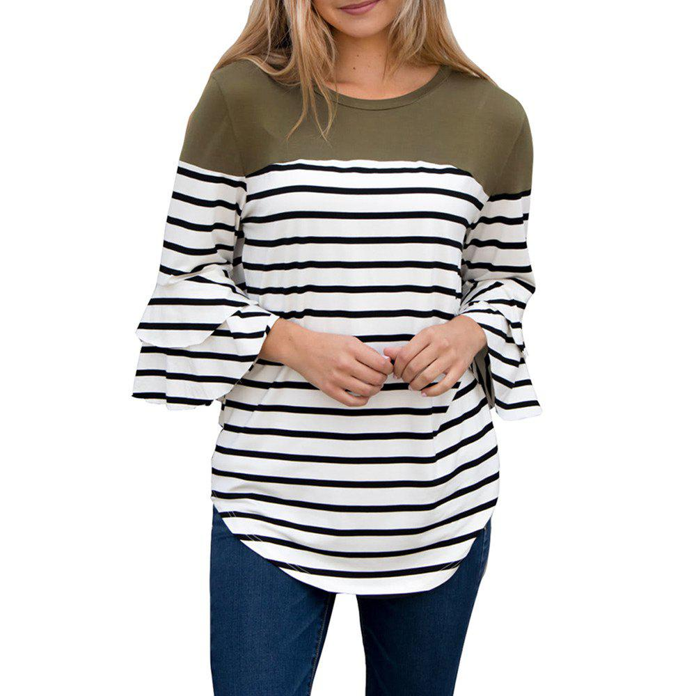 Shop Women'S Fall and Winter New Stripe Round Collar Horn Sleeve T-Shirt