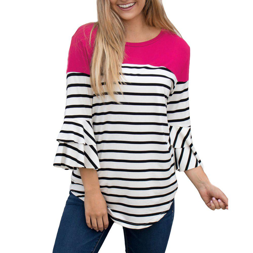 Chic Women'S Fall and Winter New Stripe Round Collar Horn Sleeve T-Shirt