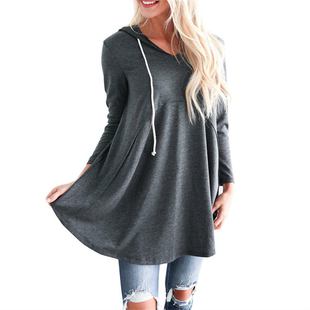 Affordable Women's Pullover Long Sleeve Hoodies Coat Loose Casual French Terry Tunic Sweats
