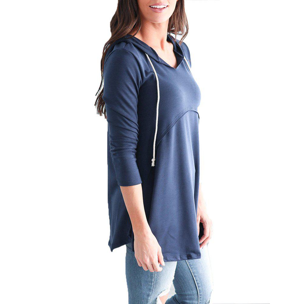 New Women's Pullover Long Sleeve Hoodies Coat Loose Casual French Terry Tunic Sweats