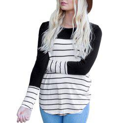 Women's Long Sleeve Round Neck Striped T-Shirt Cotton Patchwork Tshirt Blouse -