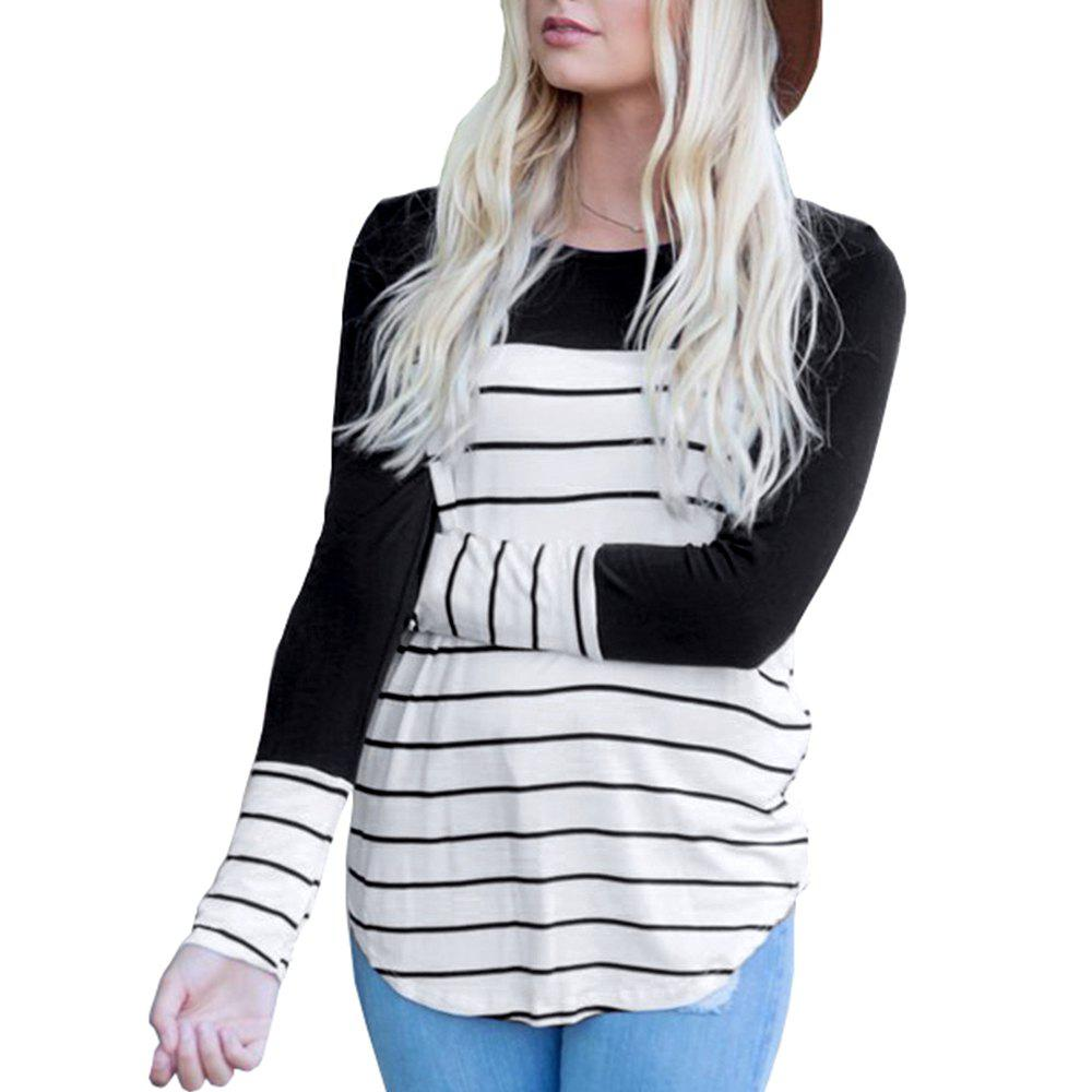 Cheap Women's Long Sleeve Round Neck Striped T-Shirt Cotton Patchwork Tshirt Blouse
