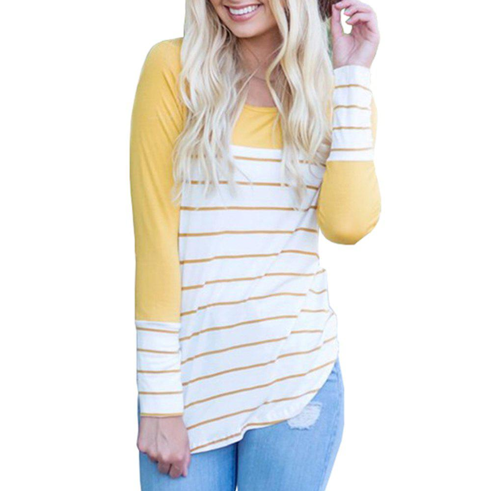 Latest Women's Long Sleeve Round Neck Striped T-Shirt Cotton Patchwork Tshirt Blouse