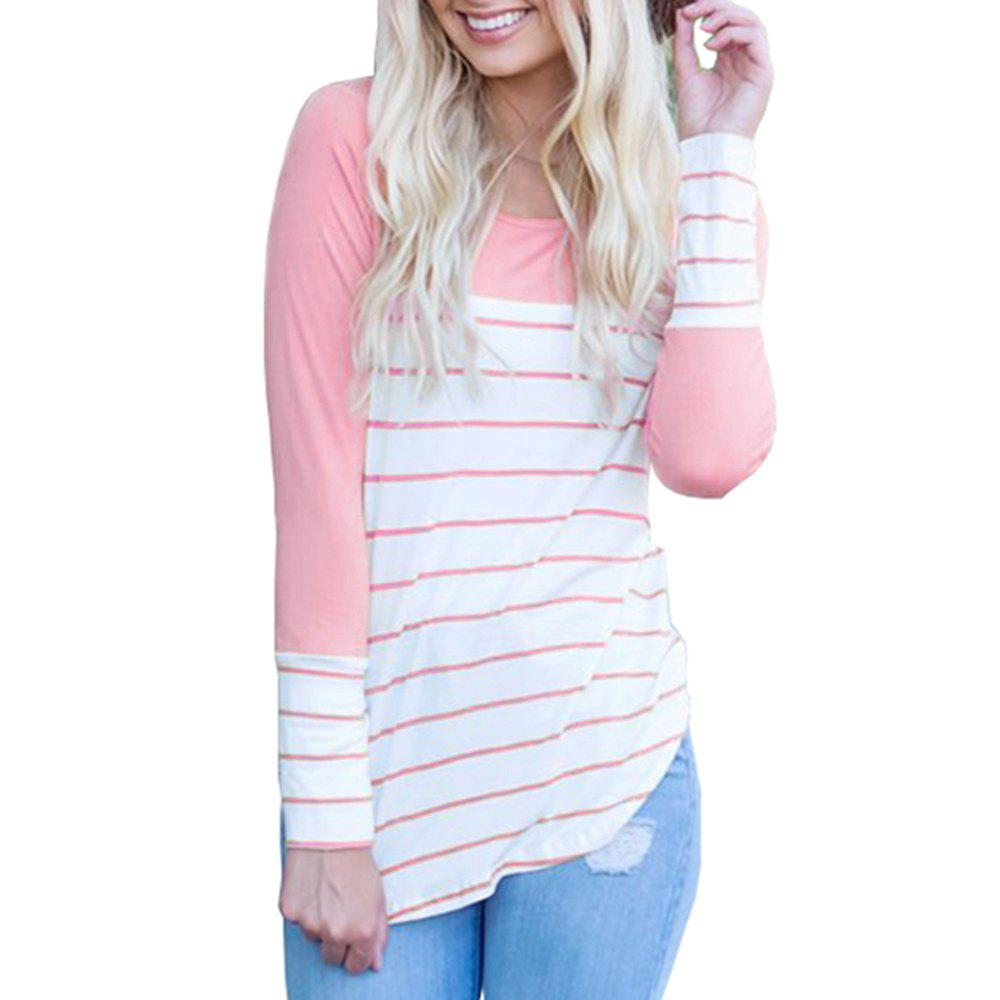 Discount Women's Long Sleeve Round Neck Striped T-Shirt Cotton Patchwork Tshirt Blouse