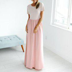 Women's Autumn Maxi Dress Short Sleeve Striped Top Floral Dresses for Women with -